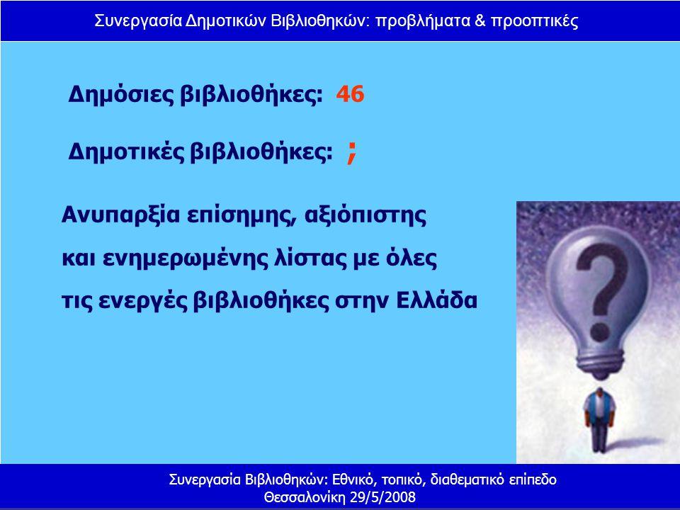 Συνεργασία Δημοτικών Βιβλιοθηκών: προβλήματα & προοπτικές Συνεργασία Βιβλιοθηκών: Εθνικό, τοπικό, διαθεματικό επίπεδο Θεσσαλονίκη 29/5/2008 Τι μπορεί να γίνει ; Δίκτυα δημοτικών βιβλιοθηκών με σκοπό την κεντρική βιβλιοθηκονομική επεξεργασία Ανάπτυξη και υλοποίηση συστήματος διαδανεισμού Συνεργασία με τις δημόσιες βιβλιοθήκες Δημιουργία κοινού πλαισίου δράσης και πολιτικής, με στόχο τη συνεργατική ανάπτυξη σχεδιασμών