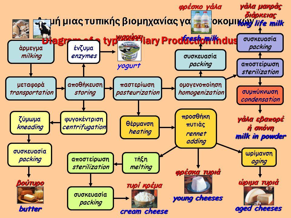 άρμεγμα milking αποθήκευση storing Δομή μιας τυπικής βιομηχανίας γαλακτοκομικών Diagram of a typical Diary Production Industry μεταφορά transportation