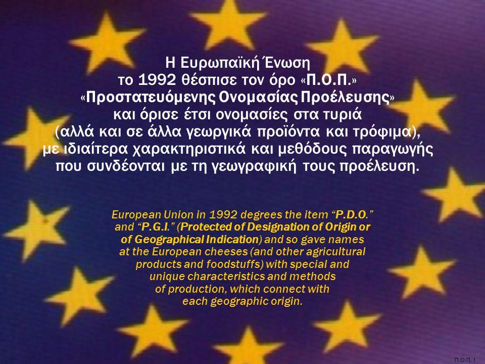 Π.Ο.Π. 1 Η Ευρωπαϊκή Ένωση το 1992 θέσπισε τον όρο «Π.Ο.Π.» «Προστατευόμενης Ονομασίας Προέλευσης» και όρισε έτσι ονομασίες στα τυριά (αλλά και σε άλλ