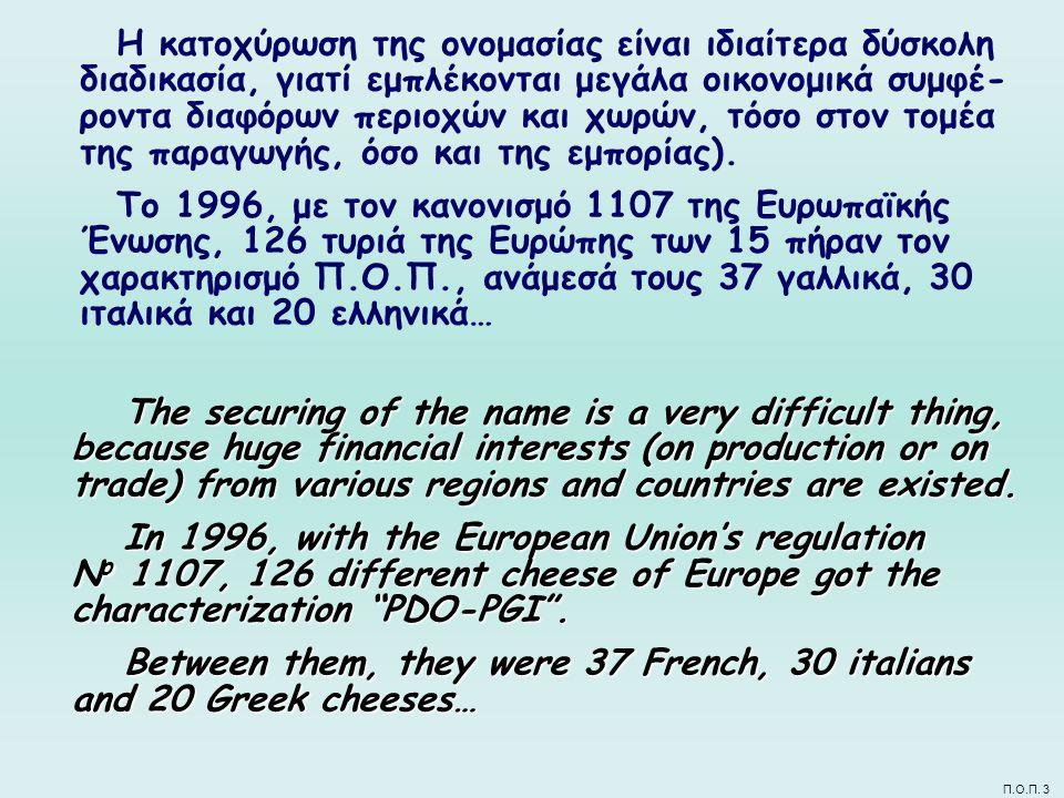 Π.Ο.Π. 3 Η κατοχύρωση της ονομασίας είναι ιδιαίτερα δύσκολη διαδικασία, γιατί εμπλέκονται μεγάλα οικονομικά συμφέ- ροντα διαφόρων περιοχών και χωρών,