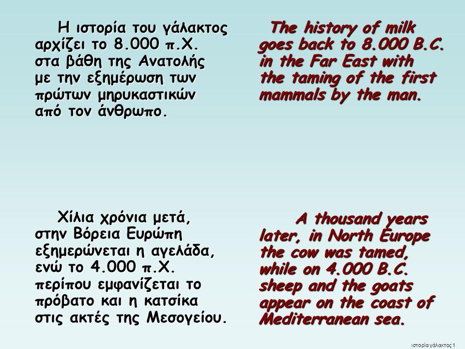 Γάλα - αρχαιότητα Οι αρχαίοι Έλληνες θεωρούσαν το γάλα ιερό, δώρο της θεάς Δήμητρας.