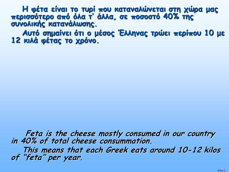 Φέτα 2 Η φέτα είναι το τυρί που καταναλώνεται στη χώρα μας περισσότερο από όλα τ' άλλα, σε ποσοστό 40% της συνολικής κατανάλωσης.
