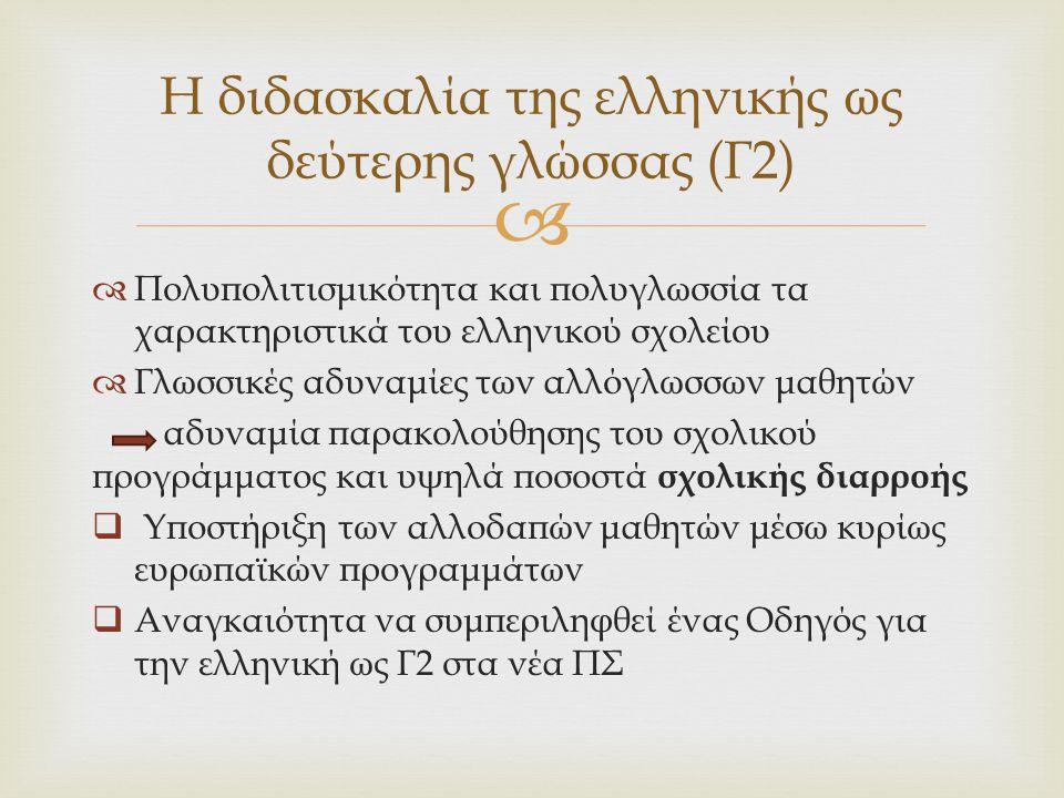   Πολυπολιτισμικότητα και πολυγλωσσία τα χαρακτηριστικά του ελληνικού σχολείου  Γλωσσικές αδυναμίες των αλλόγλωσσων μαθητών αδυναμία παρακολούθησης
