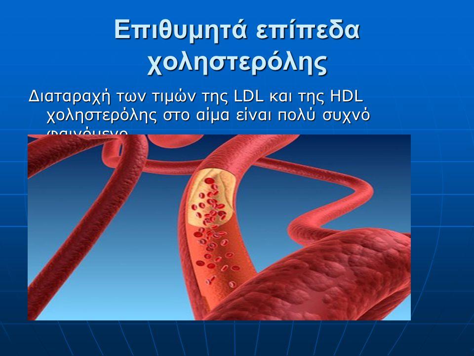 Επιθυμητά επίπεδα χοληστερόλης Διαταραχή των τιμών της LDL και της HDL χοληστερόλης στο αίμα είναι πολύ συχνό φαινόμενο.