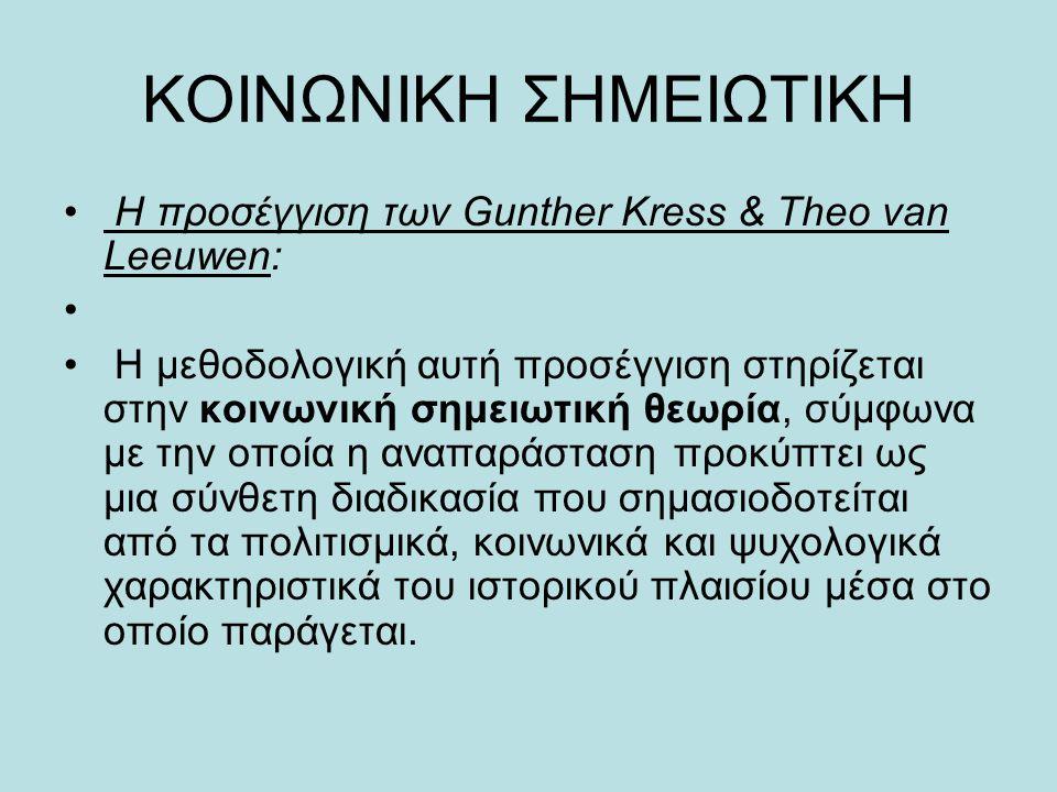 ΚΟΙΝΩΝΙΚΗ ΣΗΜΕΙΩΤΙΚΗ • Η προσέγγιση των Gunther Kress & Theo van Leeuwen: • • Η μεθοδολογική αυτή προσέγγιση στηρίζεται στην κοινωνική σημειωτική θεωρ