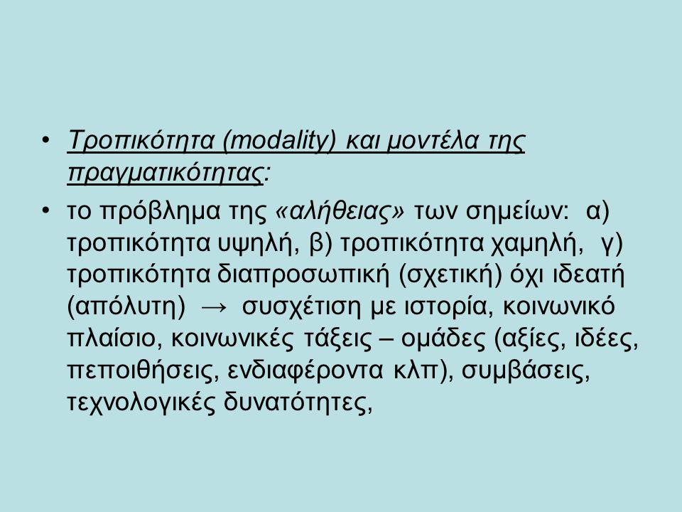 •Τροπικότητα (modality) και μοντέλα της πραγματικότητας: •το πρόβλημα της «αλήθειας» των σημείων: α) τροπικότητα υψηλή, β) τροπικότητα χαμηλή, γ) τροπ