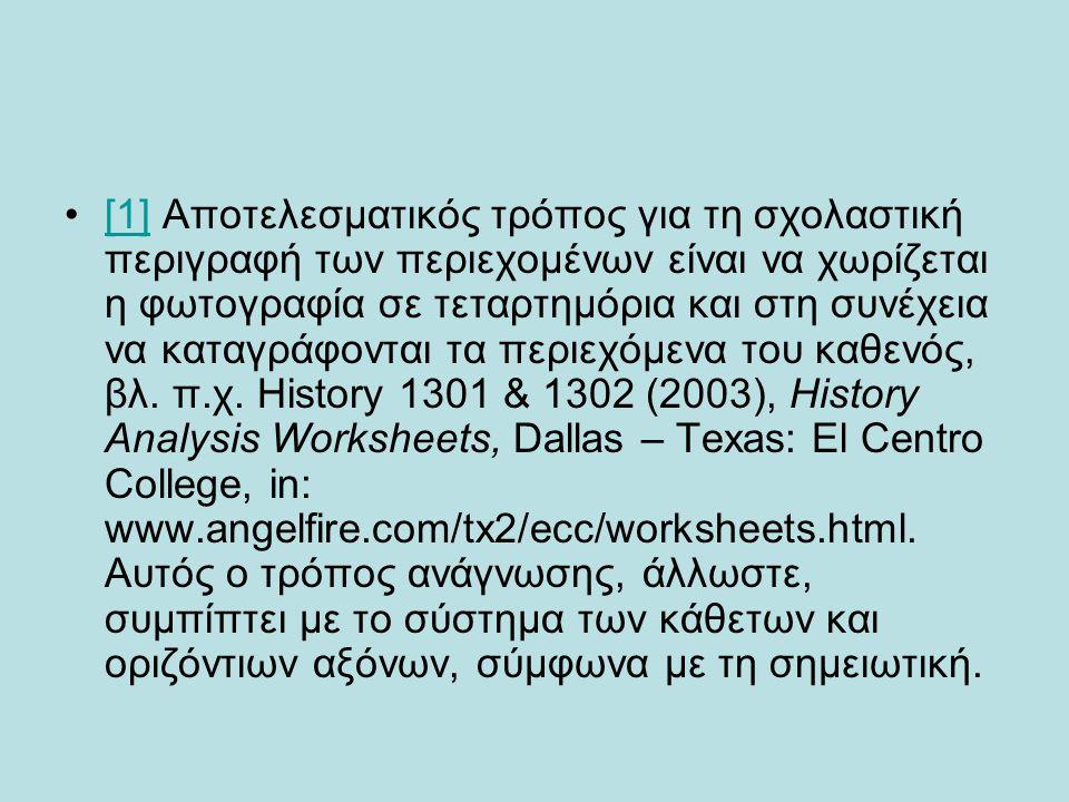 •[1] Αποτελεσματικός τρόπος για τη σχολαστική περιγραφή των περιεχομένων είναι να χωρίζεται η φωτογραφία σε τεταρτημόρια και στη συνέχεια να καταγράφο