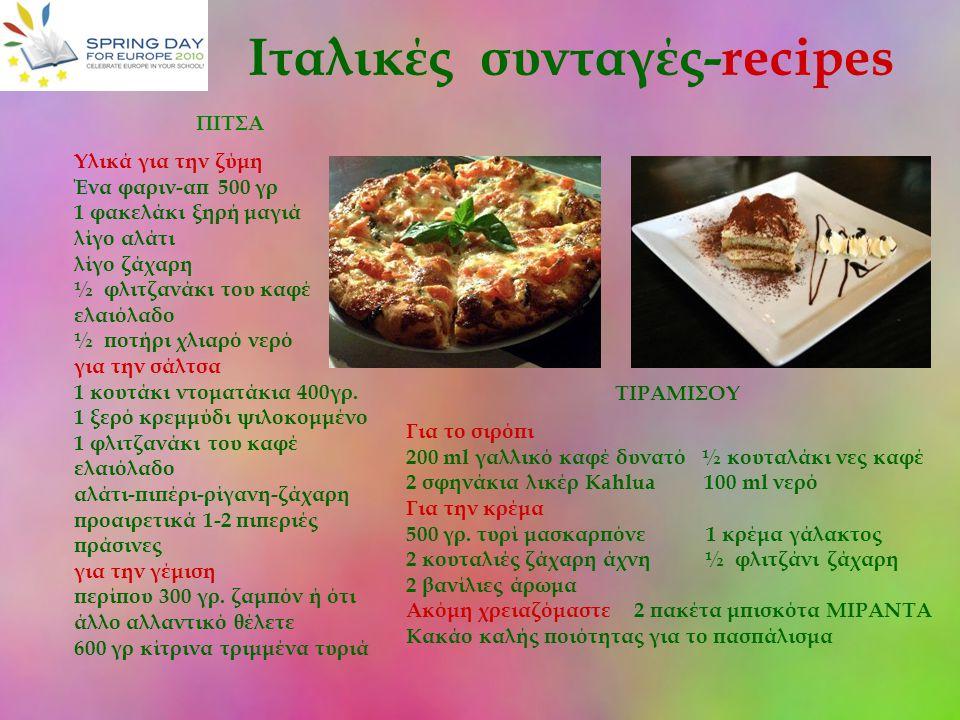 Ιταλικές συνταγές-recipes ΠΙΤΣΑ Υλικά για την ζύμη Ένα φαριν-απ 500 γρ 1 φακελάκι ξηρή μαγιά λίγο αλάτι λίγο ζάχαρη ½ φλιτζανάκι του καφέ ελαιόλαδο ½