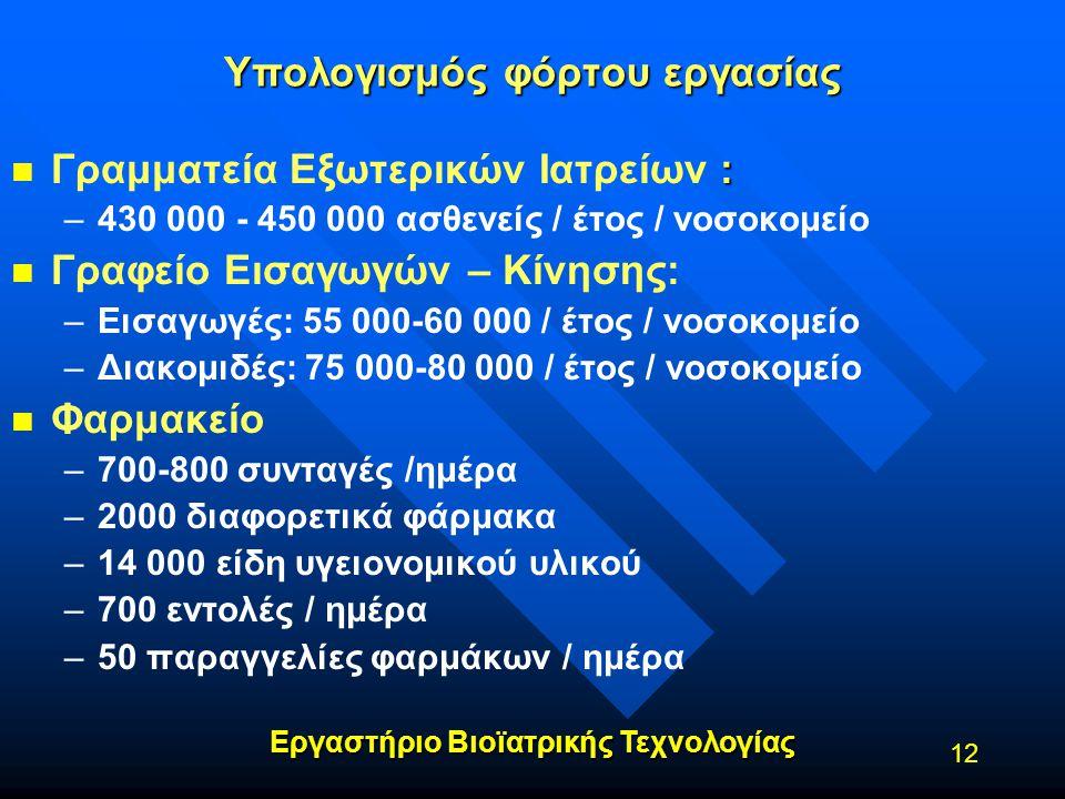 Εργαστήριο Βιοϊατρικής Τεχνολογίας 12 Υπολογισμός φόρτου εργασίας n : n Γραμματεία Εξωτερικών Ιατρείων : – –430 000 - 450 000 ασθενείς / έτος / νοσοκο