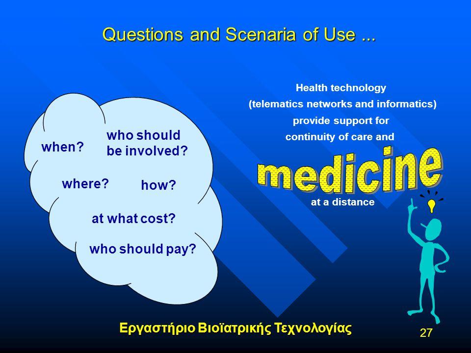 Εργαστήριο Βιοϊατρικής Τεχνολογίας 27 Questions and Scenaria of Use... when? where? who should be involved? at what cost? who should pay? how? Ηealth