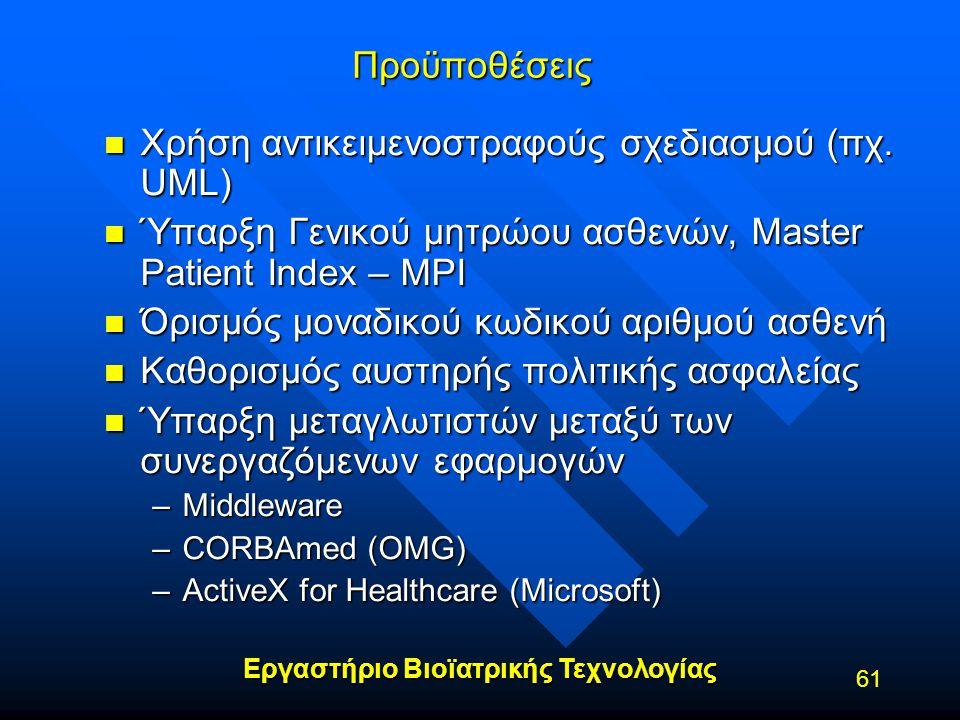 Εργαστήριο Βιοϊατρικής Τεχνολογίας 61Προϋποθέσεις n Χρήση αντικειμενοστραφούς σχεδιασμού (πχ. UML) n Ύπαρξη Γενικού μητρώου ασθενών, Master Patient In