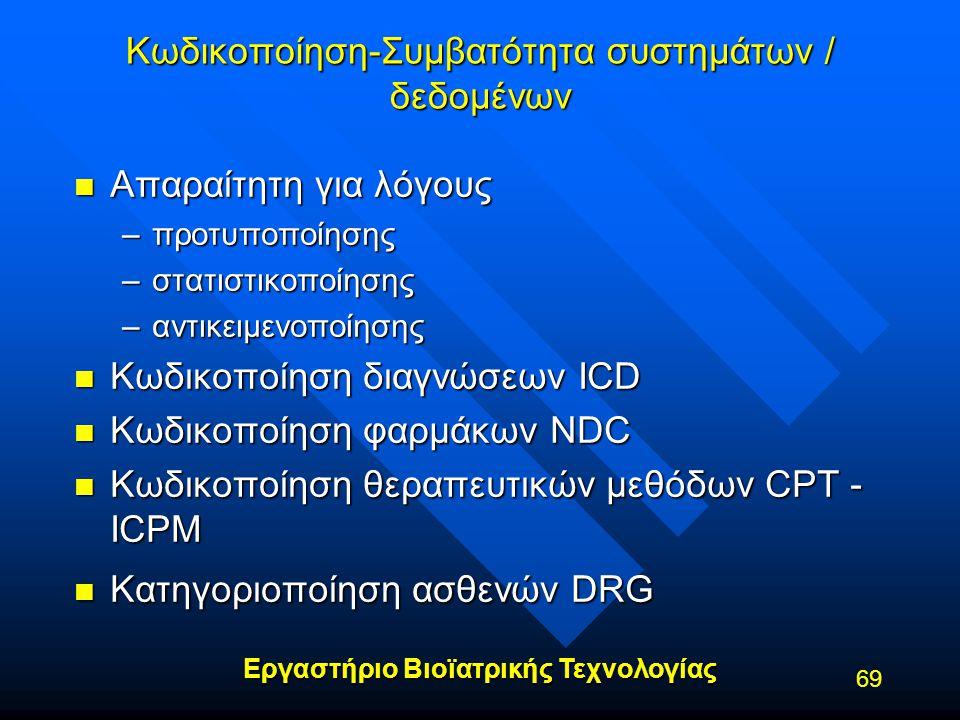 Εργαστήριο Βιοϊατρικής Τεχνολογίας 69 Κωδικοποίηση-Συμβατότητα συστημάτων / δεδομένων n Απαραίτητη για λόγους –προτυποποίησης –στατιστικοποίησης –αντι