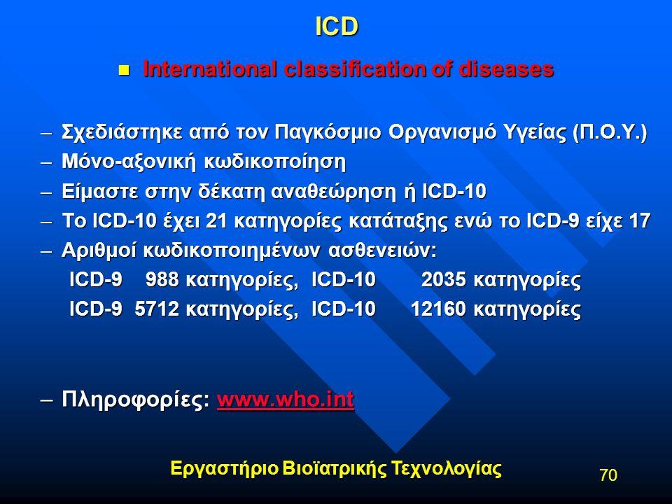 Εργαστήριο Βιοϊατρικής Τεχνολογίας 70ICD n International classification of diseases –Σχεδιάστηκε από τον Παγκόσμιο Οργανισμό Υγείας (Π.Ο.Υ.) –Μόνο-αξο