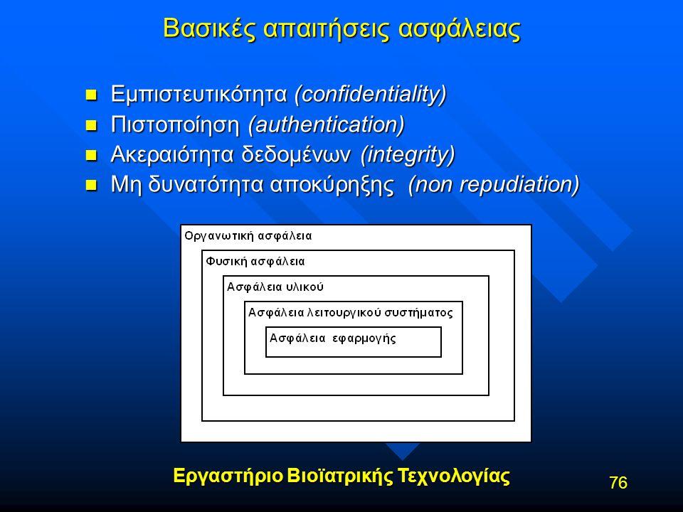 Εργαστήριο Βιοϊατρικής Τεχνολογίας 76 Βασικές απαιτήσεις ασφάλειας n Εμπιστευτικότητα (confidentiality) n Πιστοποίηση (authentication) n Ακεραιότητα δ