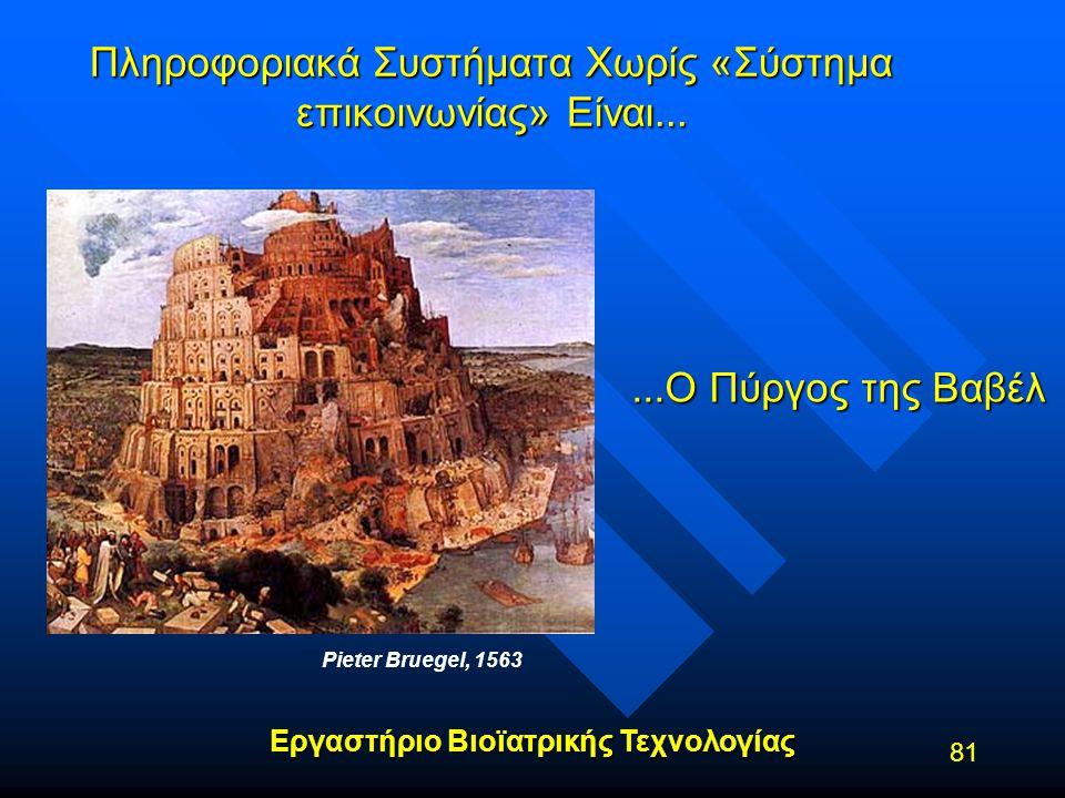 Εργαστήριο Βιοϊατρικής Τεχνολογίας 81 Πληροφοριακά Συστήματα Χωρίς «Σύστημα επικοινωνίας» Είναι... Pieter Bruegel, 1563...Ο Πύργος της Βαβέλ