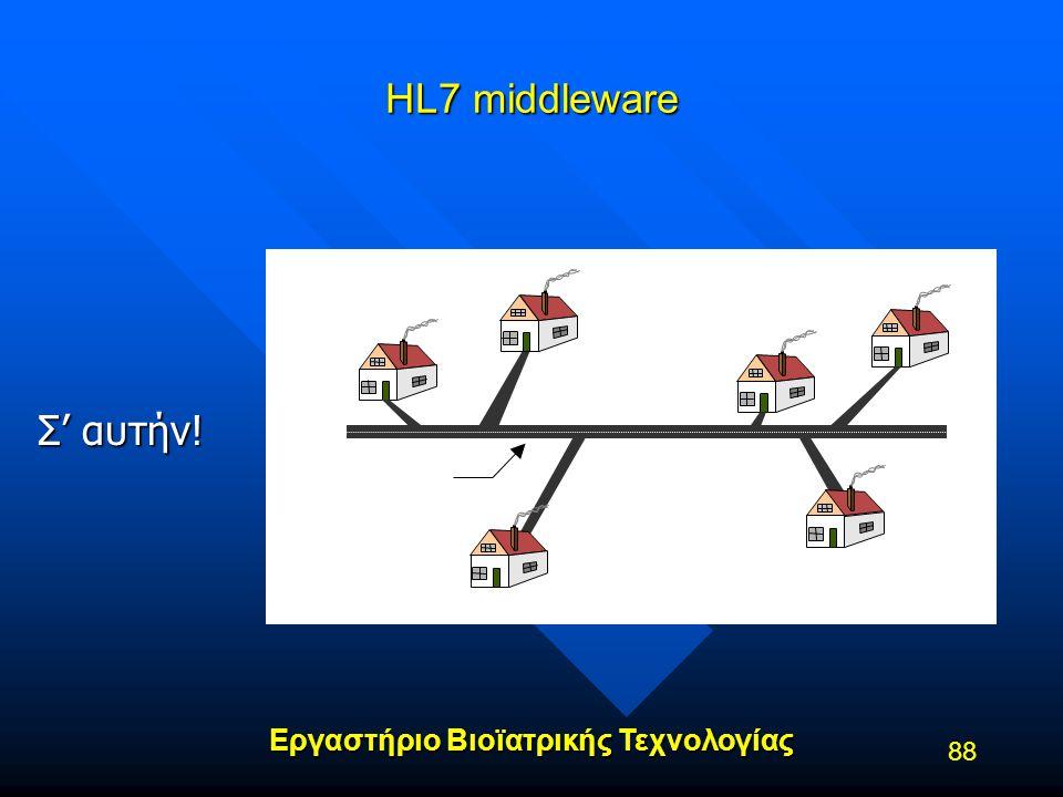 Εργαστήριο Βιοϊατρικής Τεχνολογίας 88 HL7 middleware Single information 'highway' created with the middleware Σ' αυτήν!