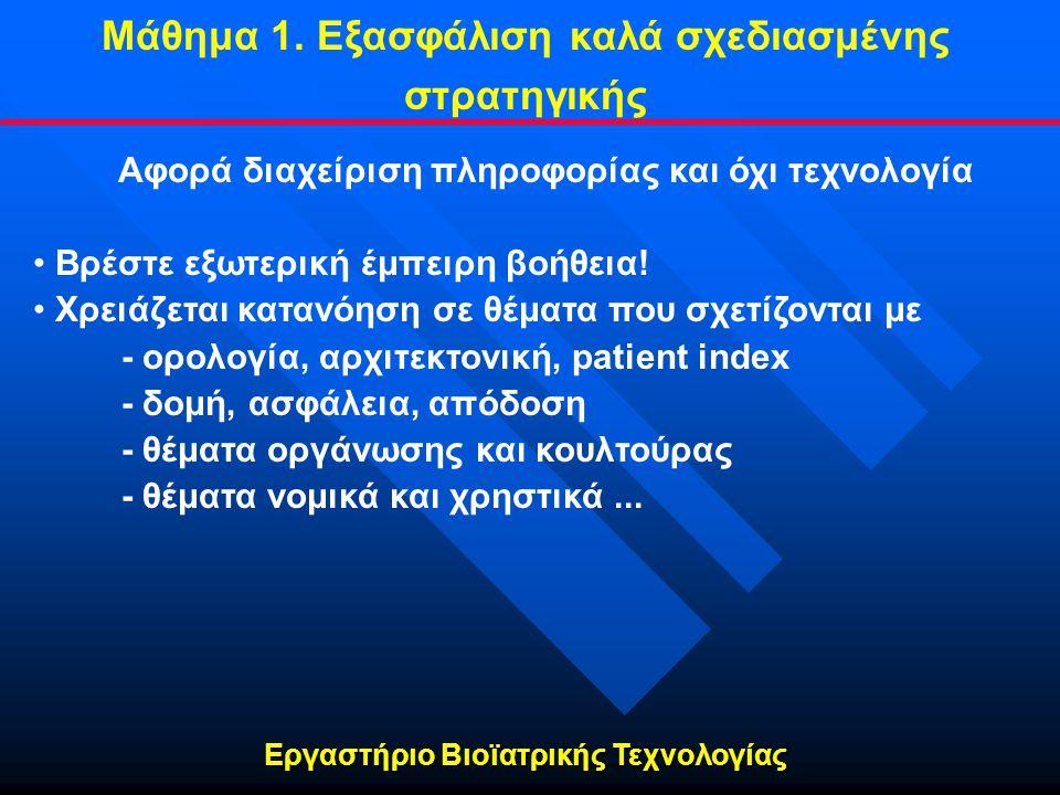 Εργαστήριο Βιοϊατρικής Τεχνολογίας Αφορά διαχείριση πληροφορίας και όχι τεχνολογία • • Βρέστε εξωτερική έμπειρη βοήθεια! • • Χρειάζεται κατανόηση σε θ