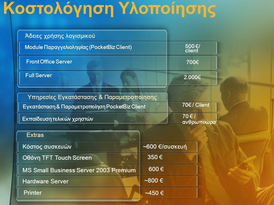 Κοστολόγηση Υλοποίησης Άδειες χρήσης λογισμικού Full Server Module Παραγγελιοληψίας (PocketBiz Client) Front Office Server 2.000€ 500 €/ client 700€ Εγκατάσταση & Παραμετροποίηση PocketBiz Client Εκπαίδευση τελικών χρηστών 70€ / Client 70 € / ανθρωποώρα Υπηρεσίες Εγκατάστασης & Παραμετροποίησης Extras Κόστος συσκευών MS Small Business Server 2003 Premium Hardware Server Οθόνη TFT Touch Screen Printer 600 € ~600 €/συσκευή ~800 € 350 € ~450 €