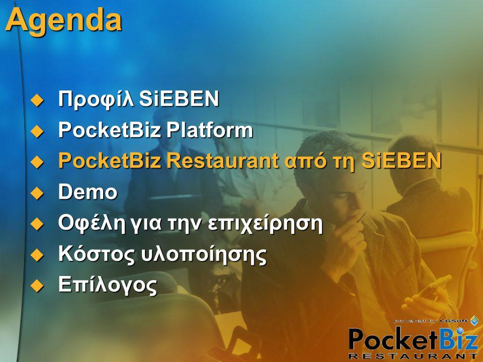 Agenda  Προφίλ SiEBEN  PocketBiz Platform  PocketBiz Restaurant από τη SiEBEN  Demo  Οφέλη για την επιχείρηση  Κόστος υλοποίησης  Επίλογος