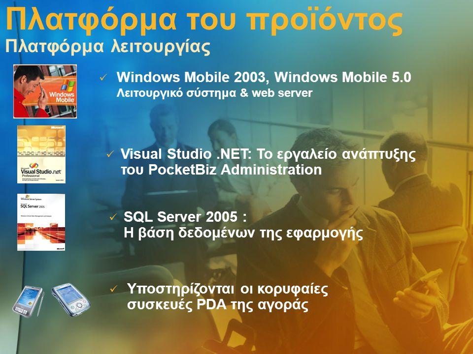 Πλατφόρμα του προϊόντος Πλατφόρμα λειτουργίας  Windows Mobile 2003, Windows Mobile 5.0 Λειτουργικό σύστημα & web server  Υποστηρίζονται οι κορυφαίες συσκευές PDA της αγοράς  Visual Studio.ΝΕΤ: Το εργαλείο ανάπτυξης του PocketBiz Administration  SQL Server 2005 : Η βάση δεδομένων της εφαρμογής