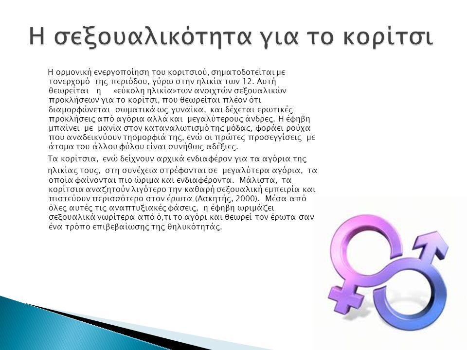 Η ορµονική ενεργοποίηση του κοριτσιού, σηµατοδοτείται µε τονερχοµό της περιόδου, γύρω στην ηλικία των 12.