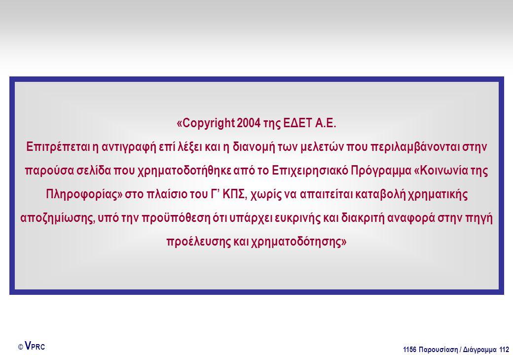 1156 Παρουσίαση / Διάγραμμα 112 © V PRC «Copyright 2004 της ΕΔΕΤ Α.Ε.