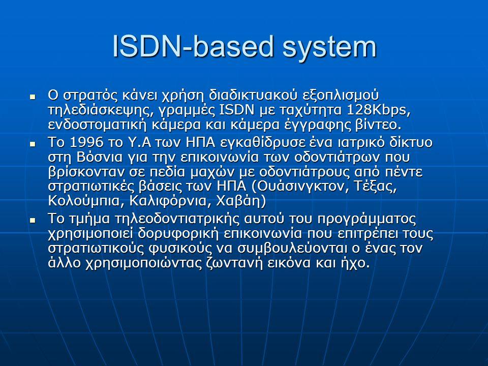 ISDN-based system  O στρατός κάνει χρήση διαδικτυακού εξοπλισμού τηλεδιάσκεψης, γραμμές ISDN με ταχύτητα 128Kbps, ενδοστοματική κάμερα και κάμερα έγγραφης βίντεο.