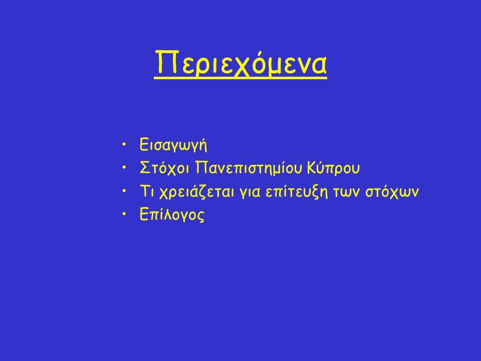 Περιεχόμενα •Εισαγωγή •Στόχοι Πανεπιστημίου Κύπρου •Τι χρειάζεται για επίτευξη των στόχων •Επίλογος
