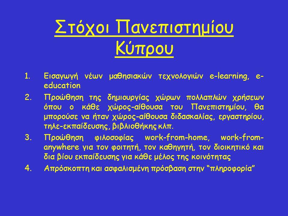 Στόχοι Πανεπιστημίου Κύπρου 1.Εισαγωγή νέων μαθησιακών τεχνολογιών e-learning, e- education 2.Προώθηση της δημιουργίας χώρων πολλαπλών χρήσεων όπου ο κάθε χώρος-αίθουσα του Πανεπιστημίου, θα μπορούσε να ήταν χώρος-αίθουσα διδασκαλίας, εργαστηρίου, τηλε-εκπαίδευσης, βιβλιοθήκης κλπ.