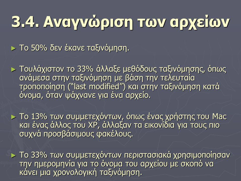 3.4. Αναγνώριση των αρχείων ► Το 50% δεν έκανε ταξινόμηση. ► Τουλάχιστον το 33% άλλαξε μεθόδους ταξινόμησης, όπως ανάμεσα στην ταξινόμηση με βάση την