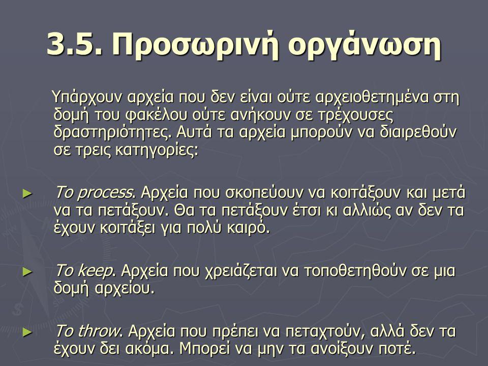 3.5. Προσωρινή οργάνωση Υπάρχουν αρχεία που δεν είναι ούτε αρχειοθετημένα στη δομή του φακέλου ούτε ανήκουν σε τρέχουσες δραστηριότητες. Αυτά τα αρχεί