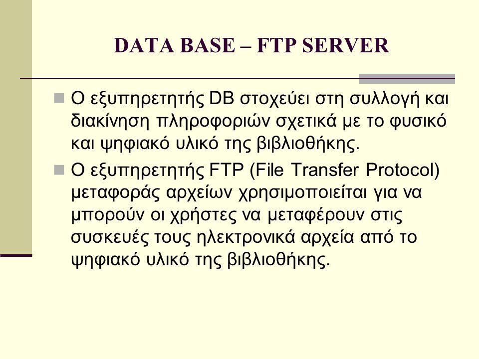 DATA BASE – FTP SERVER  Ο εξυπηρετητής DB στοχεύει στη συλλογή και διακίνηση πληροφοριών σχετικά με το φυσικό και ψηφιακό υλικό της βιβλιοθήκης.