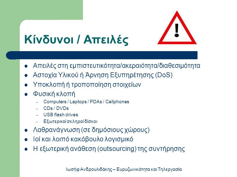 Κίνδυνοι / Απειλές  Απειλές στη εμπιστευτικότητα/ακεραιότητα/διαθεσιμότητα  Αστοχία Υλικού ή Άρνηση Εξυπηρέτησης (DoS)  Υποκλοπή ή τροποποίηση στοι