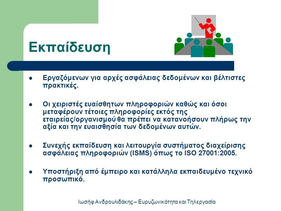Εκπαίδευση  Εργαζόμενων για αρχές ασφάλειας δεδομένων και βέλτιστες πρακτικές.