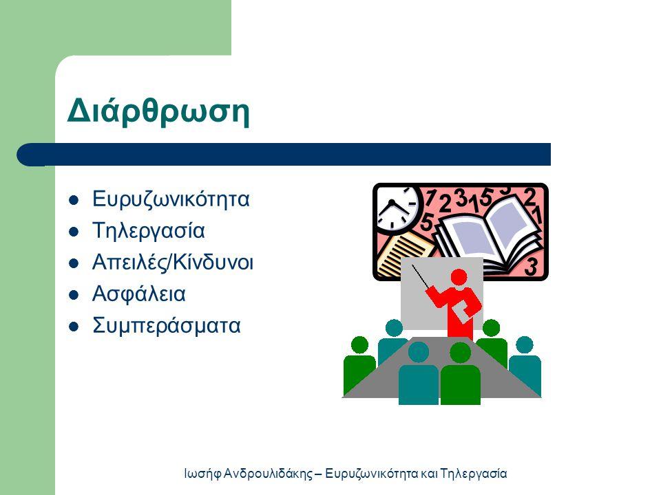 Διάρθρωση  Ευρυζωνικότητα  Τηλεργασία  Απειλές/Κίνδυνοι  Ασφάλεια  Συμπεράσματα Ιωσήφ Ανδρουλιδάκης – Ευρυζωνικότητα και Τηλεργασία