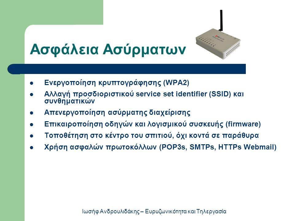 Ασφάλεια Ασύρματων  Ενεργοποίηση κρυπτογράφησης (WPA2)  Αλλαγή προσδιοριστικού service set identifier (SSID) και συνθηματικών  Απενεργοποίηση ασύρματης διαχείρισης  Επικαιροποίηση οδηγών και λογισμικού συσκευής (firmware)  Τοποθέτηση στο κέντρο του σπιτιού, όχι κοντά σε παράθυρα  Χρήση ασφαλών πρωτοκόλλων (POP3s, SMTPs, HTTPs Webmail) Ιωσήφ Ανδρουλιδάκης – Ευρυζωνικότητα και Τηλεργασία