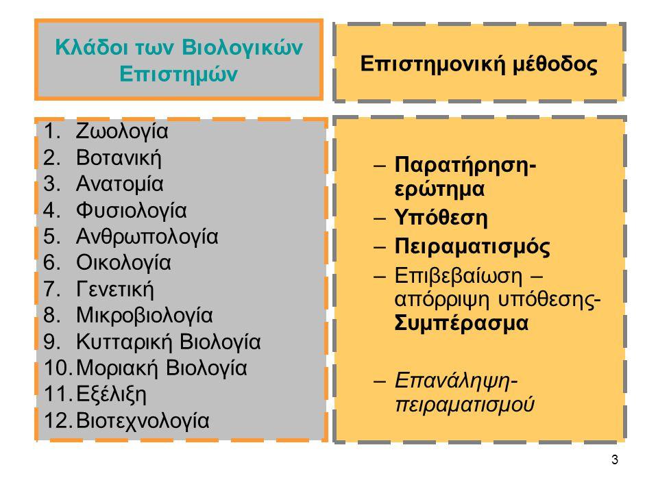 3 Κλάδοι των Βιολογικών Επιστημών 1.Ζωολογία 2.Βοτανική 3.Ανατομία 4.Φυσιολογία 5.Ανθρωπολογία 6.Οικολογία 7.Γενετική 8.Μικροβιολογία 9.Κυτταρική Βιολογία 10.Μοριακή Βιολογία 11.Εξέλιξη 12.Βιοτεχνολογία –Παρατήρηση- ερώτημα –Υπόθεση –Πειραματισμός –Επιβεβαίωση – απόρριψη υπόθεσης- Συμπέρασμα –Επανάληψη- πειραματισμού Επιστημονική μέθοδος