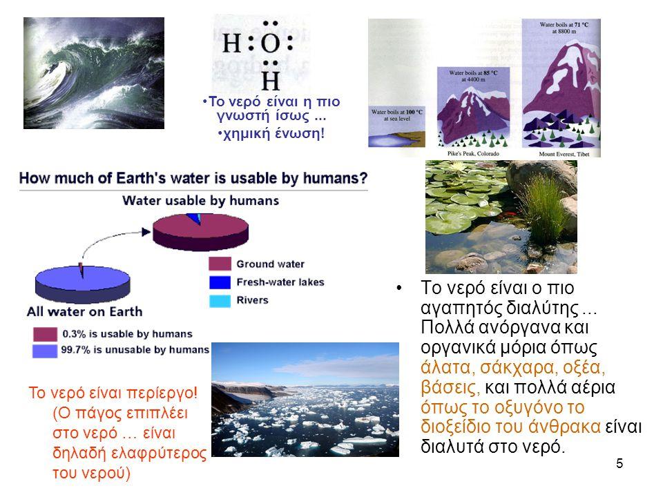 5 •Το νερό είναι ο πιο αγαπητός διαλύτης... Πολλά ανόργανα και οργανικά μόρια όπως άλατα, σάκχαρα, οξέα, βάσεις, και πολλά αέρια όπως το οξυγόνο το δι