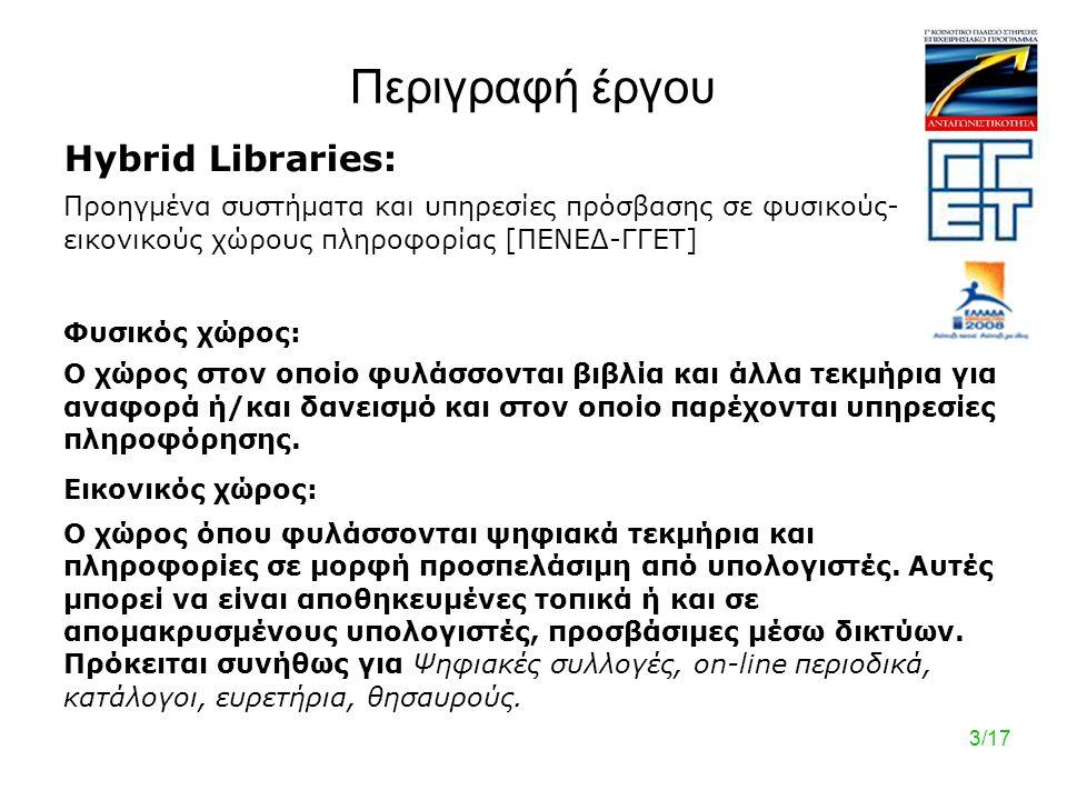 3/17 Περιγραφή έργου Hybrid Libraries: Προηγμένα συστήματα και υπηρεσίες πρόσβασης σε φυσικούς- εικονικούς χώρους πληροφορίας [ΠΕΝΕΔ-ΓΓΕΤ] Φυσικός χώρος: Ο χώρος στον οποίο φυλάσσονται βιβλία και άλλα τεκμήρια για αναφορά ή/και δανεισμό και στον οποίο παρέχονται υπηρεσίες πληροφόρησης.