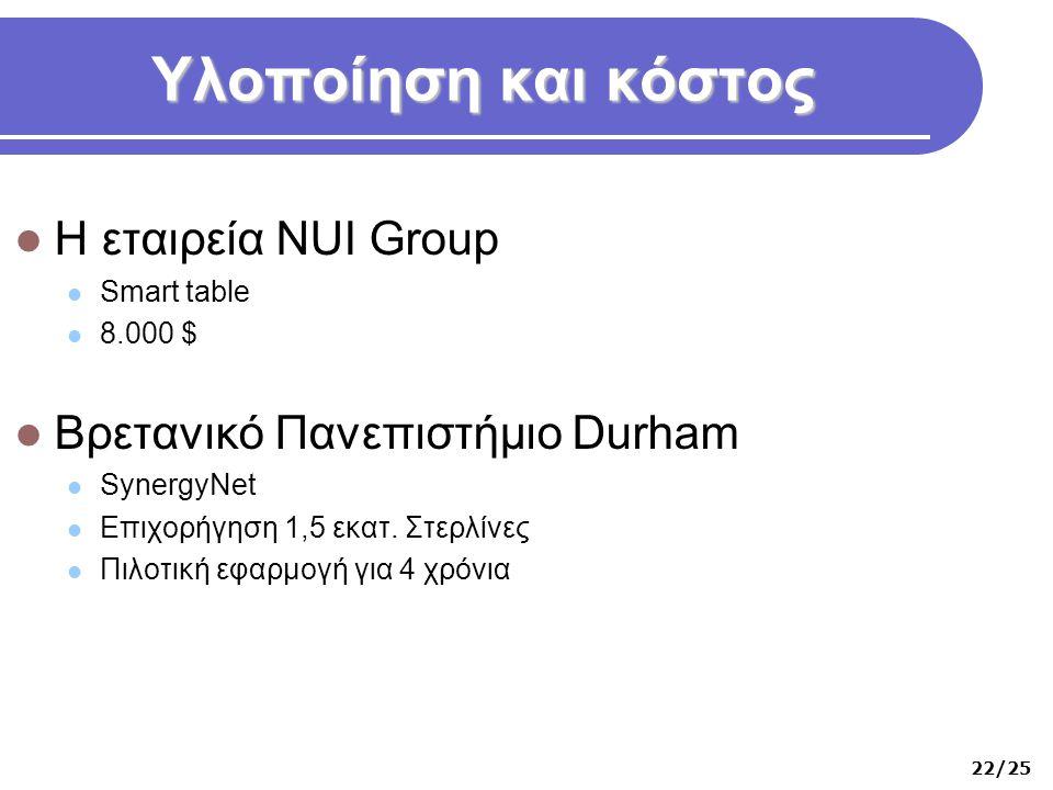 Υλοποίηση και κόστος  Η εταιρεία NUI Group  Smart table  8.000 $  Βρετανικό Πανεπιστήμιο Durham  SynergyNet  Επιχορήγηση 1,5 εκατ. Στερλίνες  Π