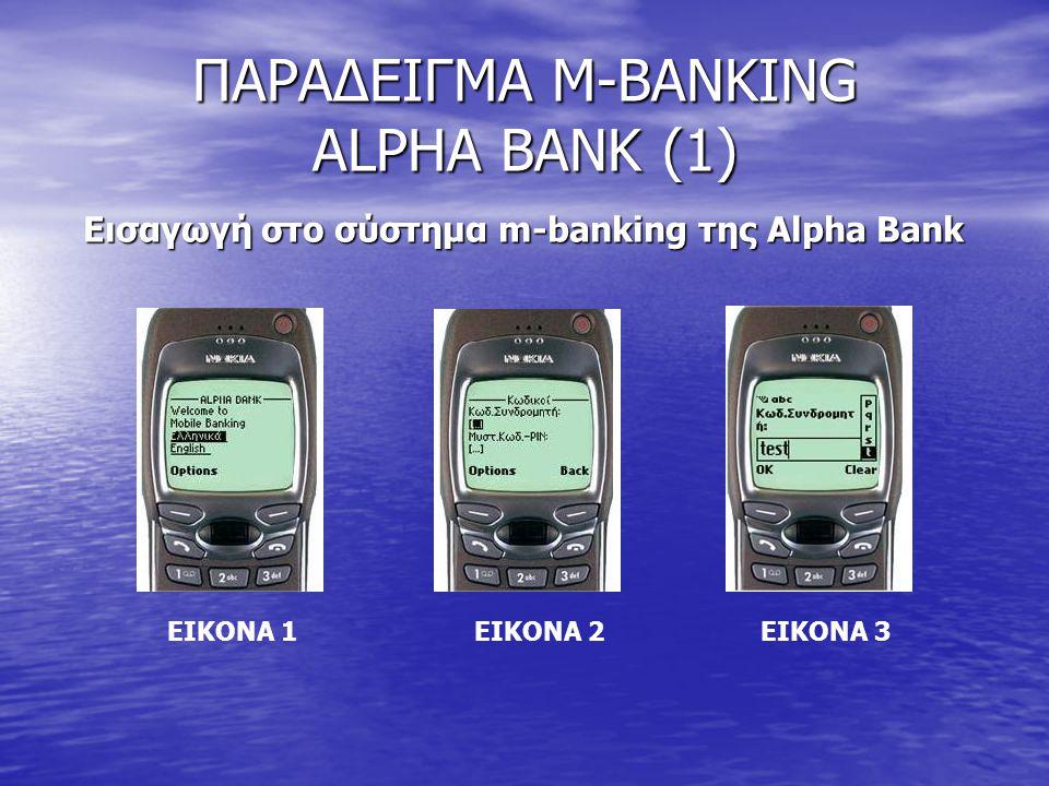 ΠΑΡΑΔΕΙΓΜΑ M-BANKING ALPHA BANK (1) Εισαγωγή στο σύστημα m-banking της Alpha Bank ΕΙΚΟΝΑ 1 ΕΙΚΟΝΑ 2 ΕΙΚΟΝΑ 3