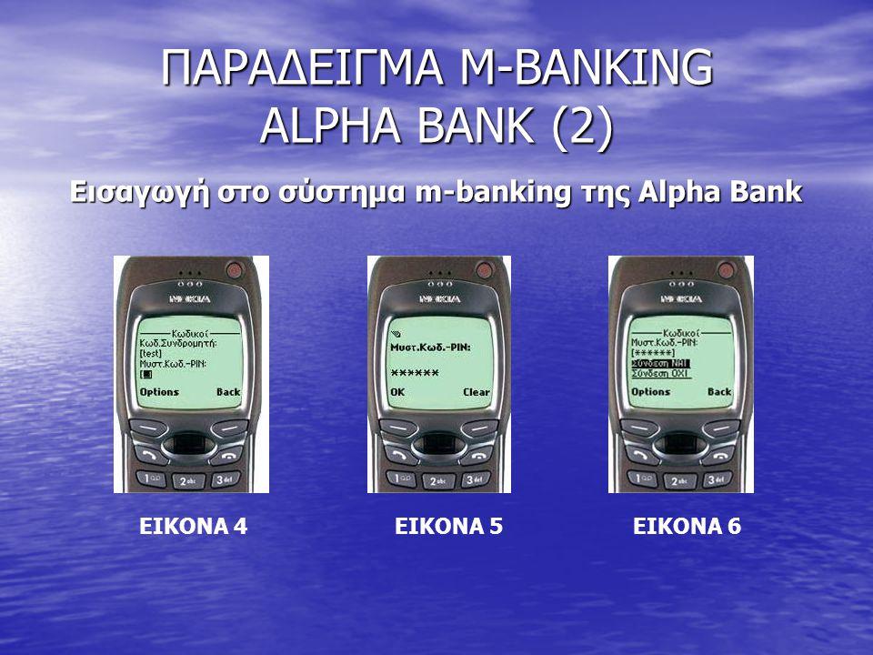 ΠΑΡΑΔΕΙΓΜΑ M-BANKING ALPHA BANK (2) Εισαγωγή στο σύστημα m-banking της Alpha Bank ΕΙΚΟΝΑ 4 ΕΙΚΟΝΑ 5 ΕΙΚΟΝΑ 6