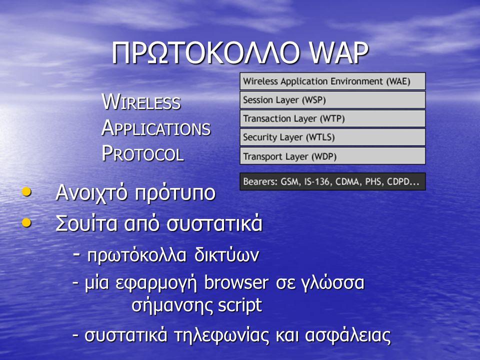 ΠΡΩΤΟΚΟΛΛΟ WAP • Ανοιχτό πρότυπο • Σουίτα από συστατικά - πρωτόκολλα δικτύων - πρωτόκολλα δικτύων - μία εφαρμογή browser σε γλώσσα σήμανσης script - μία εφαρμογή browser σε γλώσσα σήμανσης script - συστατικά τηλεφωνίας και ασφάλειας - συστατικά τηλεφωνίας και ασφάλειας W IRELESS A PPLICATIONS P ROTOCOL