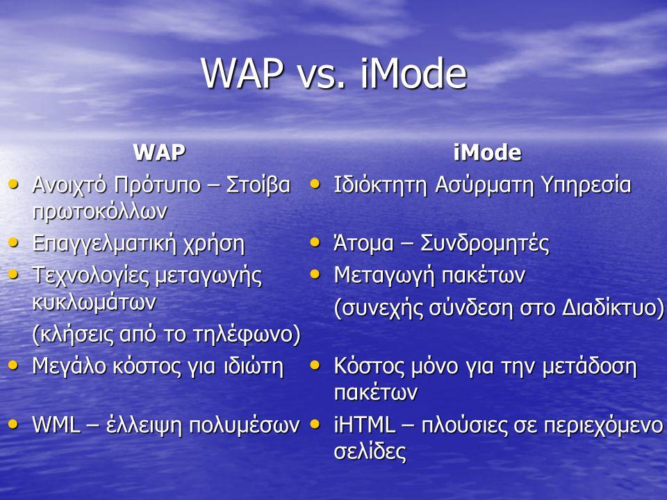 ΣΥΓΚΛΙΣΗ WML ΚΑΙ xHTML xHTML • Εξέλιξη HTML (δεν είναι νέα γλώσσα) • Τα περιεχόμενα προωθούνται στην συσκευή WML • Περιορισμένες δυνατότητες ελέγχου περιεχομένου και διάταξης • Πύλη WAP (WAP Gateway) • Το WAP υποστηρίζει και τις δύο γλώσσες • Παρόμοιες γλώσσες (HTML) • Γλώσσες για Web browsers