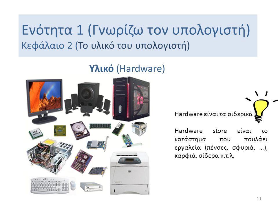 Ενότητα 1 (Γνωρίζω τον υπολογιστή) Κεφάλαιο 2 (Το υλικό του υπολογιστή) Υλικό (Hardware) 11 Hardware είναι τα σιδερικά! Hardware store είναι το κατάστ