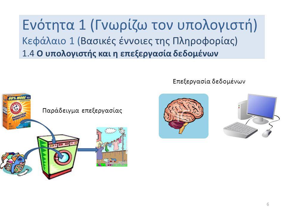 Ενότητα 1 (Γνωρίζω τον υπολογιστή) Κεφάλαιο 1 (Βασικές έννοιες της Πληροφορίας) 1.4 Ο υπολογιστής και η επεξεργασία δεδομένων Παράδειγμα επεξεργασίας