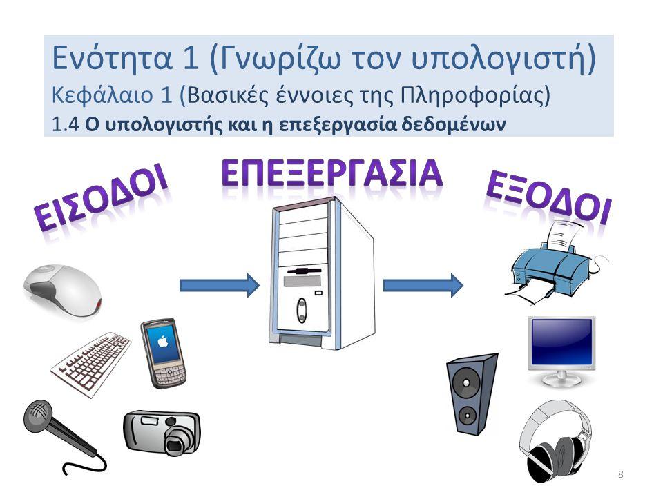 Ενότητα 1 (Γνωρίζω τον υπολογιστή) Κεφάλαιο 1 (Βασικές έννοιες της Πληροφορίας) 1.4 Ο υπολογιστής και η επεξεργασία δεδομένων 8