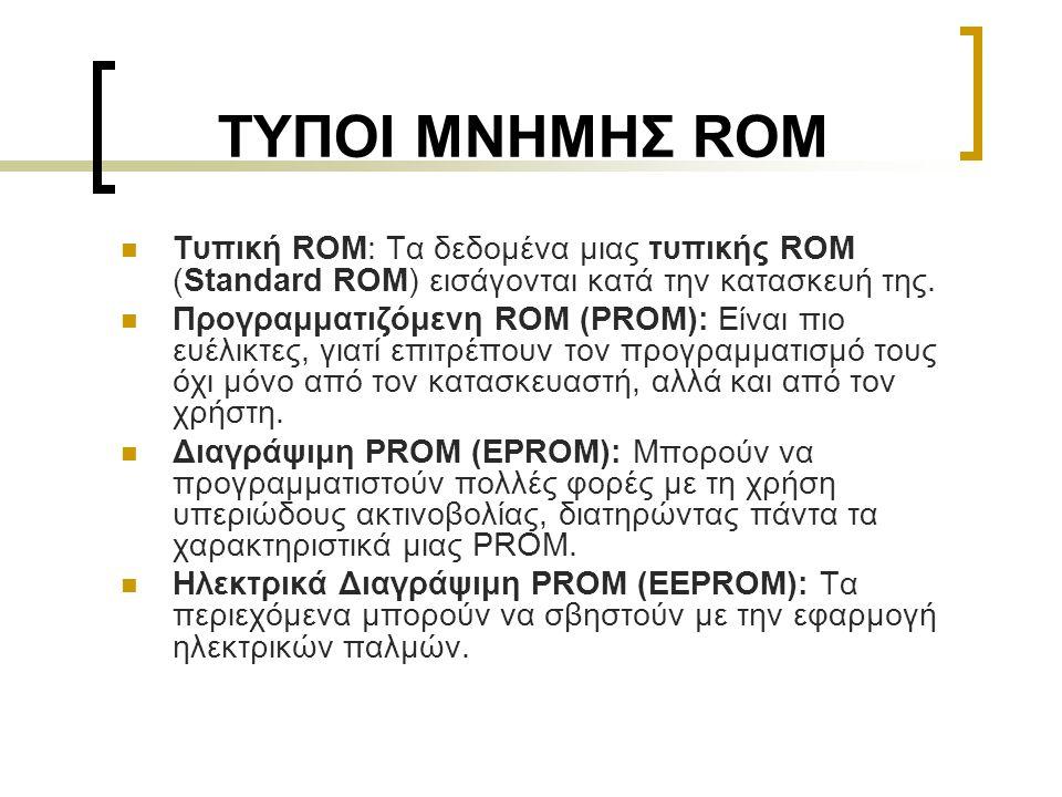 ΤΥΠΟΙ ΜΝΗΜΗΣ ROM  Τυπική ROM: Τα δεδομένα μιας τυπικής ROM (Standard ROM) εισάγονται κατά την κατασκευή της.  Προγραμματιζόμενη ROM (PROM): Είναι πι