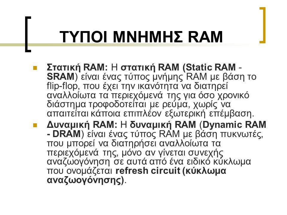 ΤΥΠΟΙ ΜΝΗΜΗΣ RAM  Στατική RAM: Η στατική RAM (Static RAM - SRAM) είναι ένας τύπος μνήμης RAM με βάση το flip-flop, που έχει την ικανότητα να διατηρεί