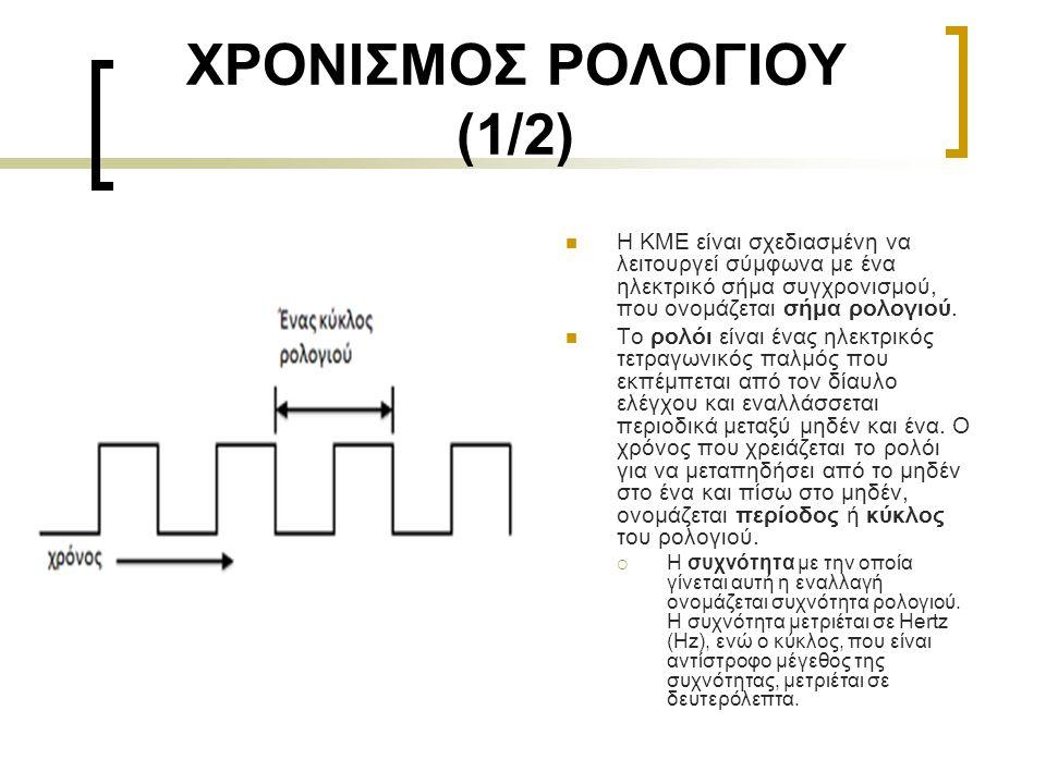 ΧΡΟΝΙΣΜΟΣ ΡΟΛΟΓΙΟΥ (1/2)  Η ΚΜΕ είναι σχεδιασμένη να λειτουργεί σύμφωνα με ένα ηλεκτρικό σήμα συγχρονισμού, που ονομάζεται σήμα ρολογιού.  Το ρολόι